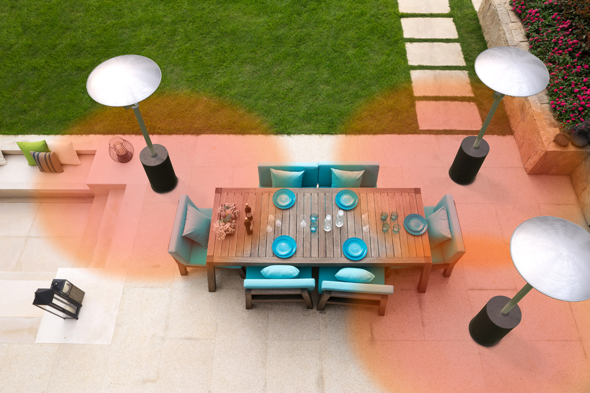 Image of a dining table with 6 blue chairs being heated from the sides by 3 regular stand-up heaters. Image depicts lots of wasted energy from the heaters.