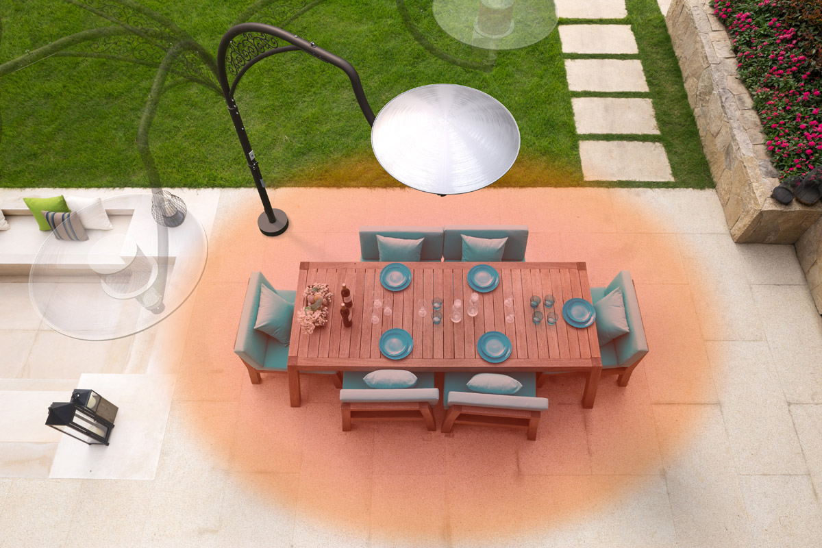 Image of a dining table with 6 blue chairs being heated from above by just 1 Swing-Arm Heater. Image depicts how energy loss is minimised due to ability of heater to emit heat from directly above the center of the table. Image also illustrates how heater can be rotated through a 180° radius in 45° increments.